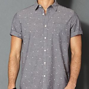 Forever 21 Men's bird print chambray fitted shirt